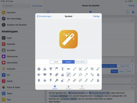 Gestaltung des Shortcuts